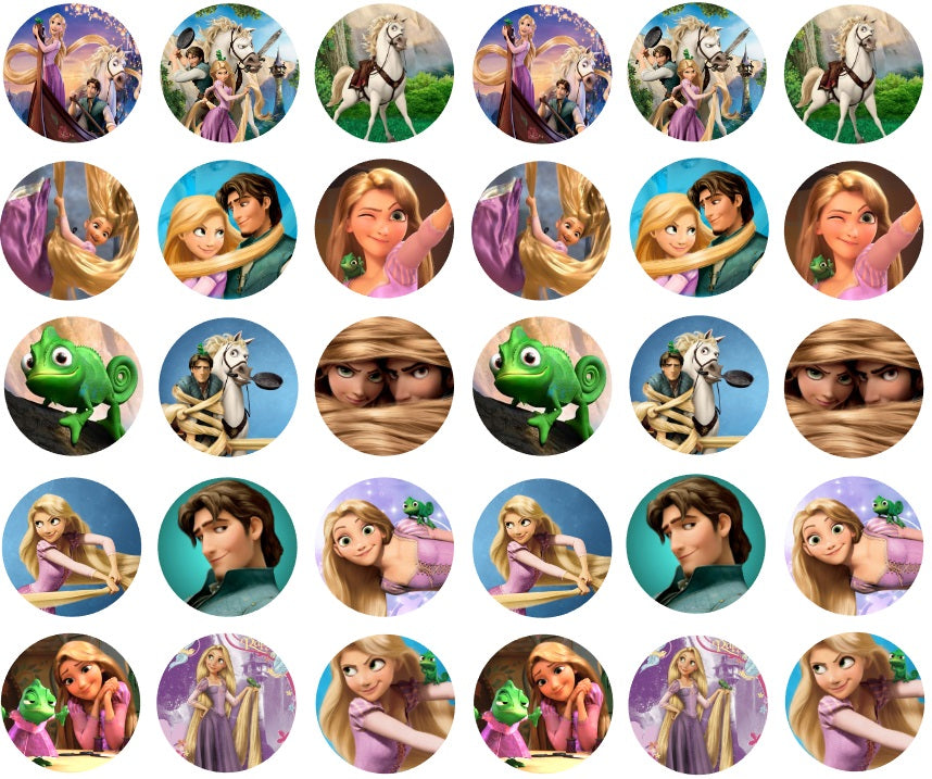 30 Tangled Cupcake Toppers pre-cut 3.5cm
