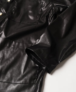 2021秋冬 FAKE LEATHER OPEN COLLAR SHIRT