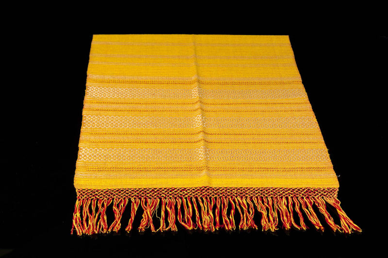 Yellow & red cotton rebozo shawl from Oaxaca Mexico