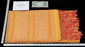 Mexican Cotton Shawl from Oaxaca Yellow & Red Textile