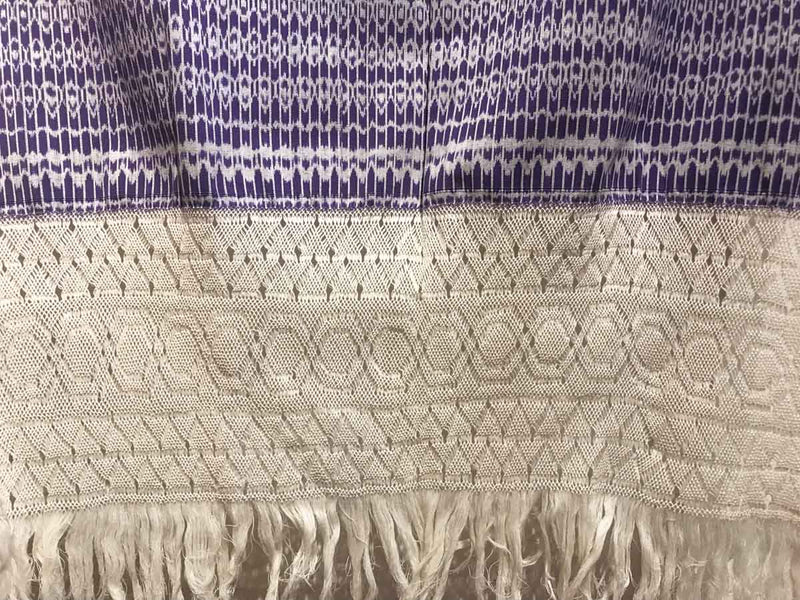 Award Winning Pruple & White Rebozo Mexican Shawl Back strap Loomed Close Up