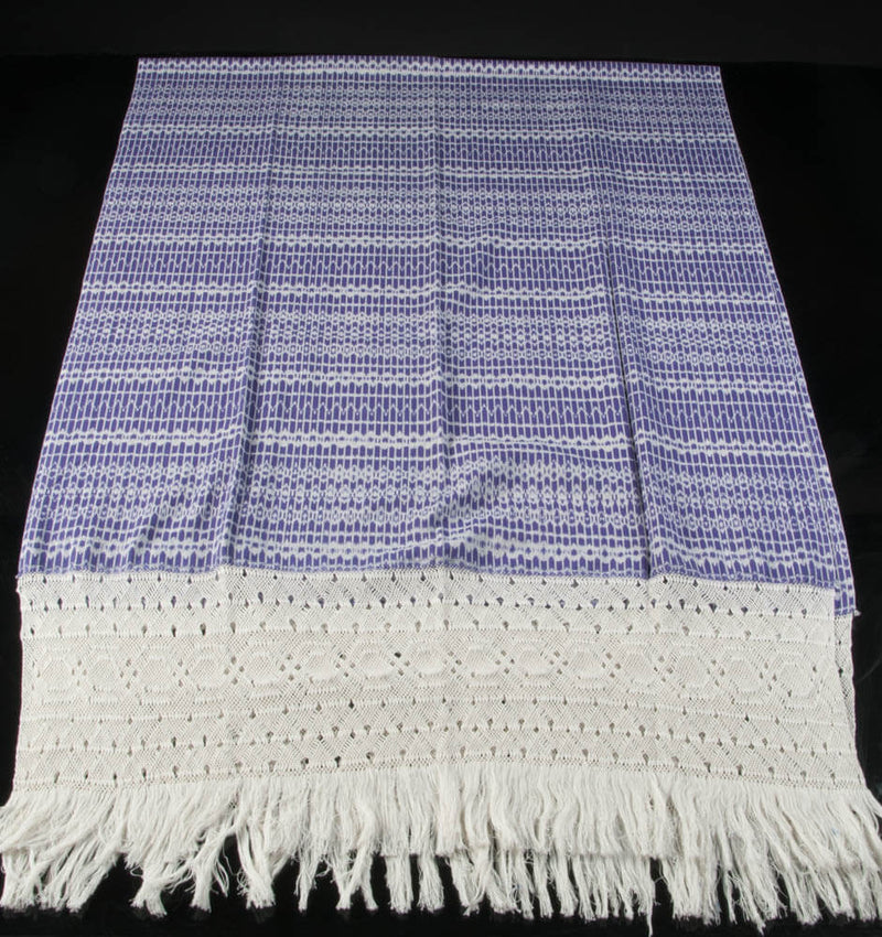 Award Winning Pruple & White Rebozo Mexican Shawl Back strap Loomed