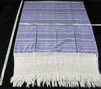 Award Winning Pruple & White Rebozo Mexican Shawl Back strap Loomed Rulers