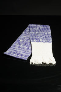 Award Winning Pruple & White Rebozo Mexican Shawl Back strap Loomed Folded