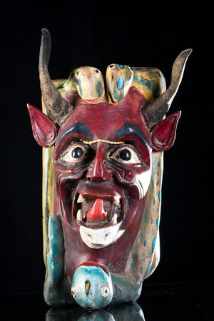 Vintage Devil & Snakes Big Wooden Mask from Guerrero Mexican Folk Art