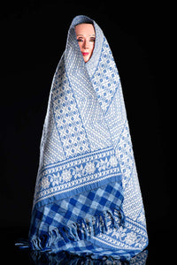 Mask with Fine Mexican Indigenous Textile Brocade Blue & White with Purepecha Patterns