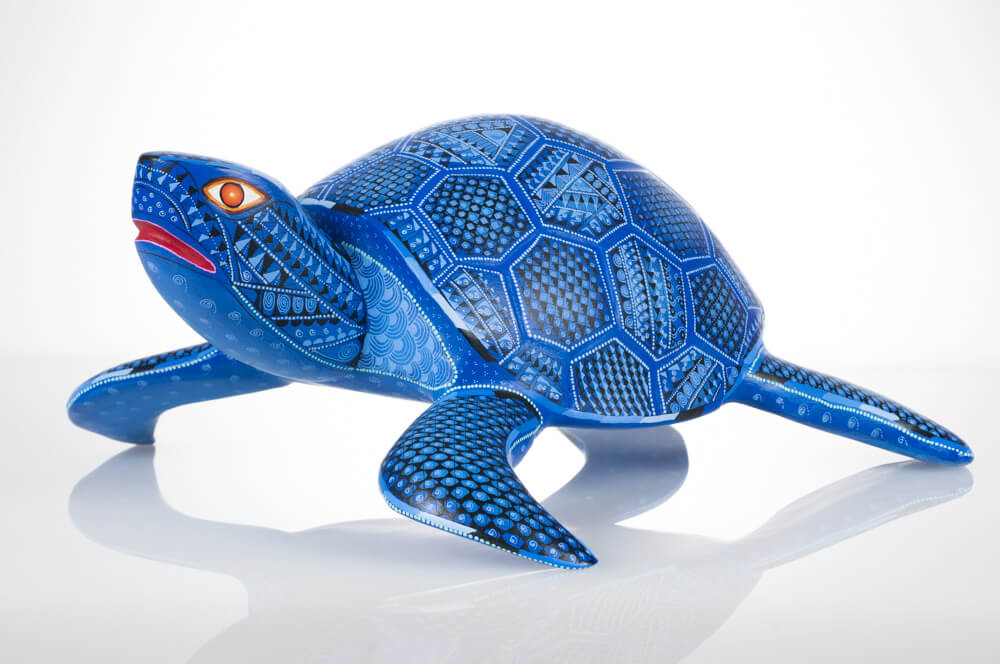 Blue turtle Oaxacan wood carving alebrije