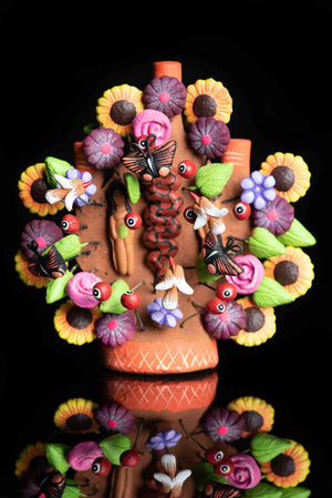 Miniature Mexican Tree of Life Adam & Eve Flowery Candelabra