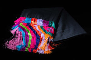 Black cotton shawl with colorful rayon fringe fine Mexican Textile from Ahuiran, Michoacan