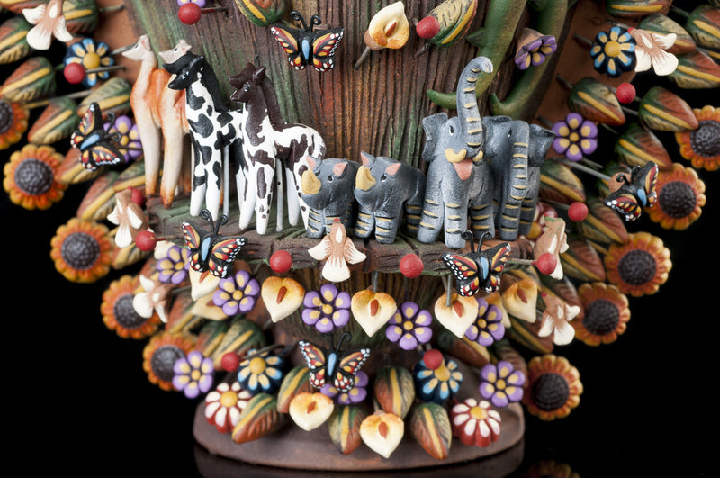 Clay tree of life from Metepec Mexico