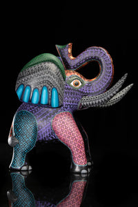 Elephant Wood Carving Sculpture Hand Painted by Mexican Artist Left Side View