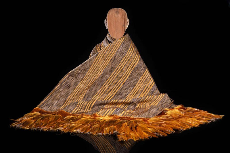 Striped Yellow and Brown Cotton Shawl with Feathers Indigenous textile art Manikin