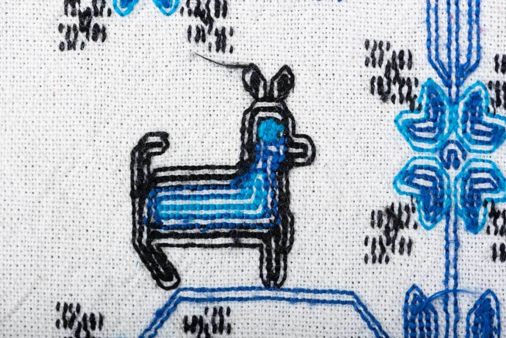 Mazahua Embroidery w Deer in Blue & White Mexican Indigenous Textile Reverse Detail