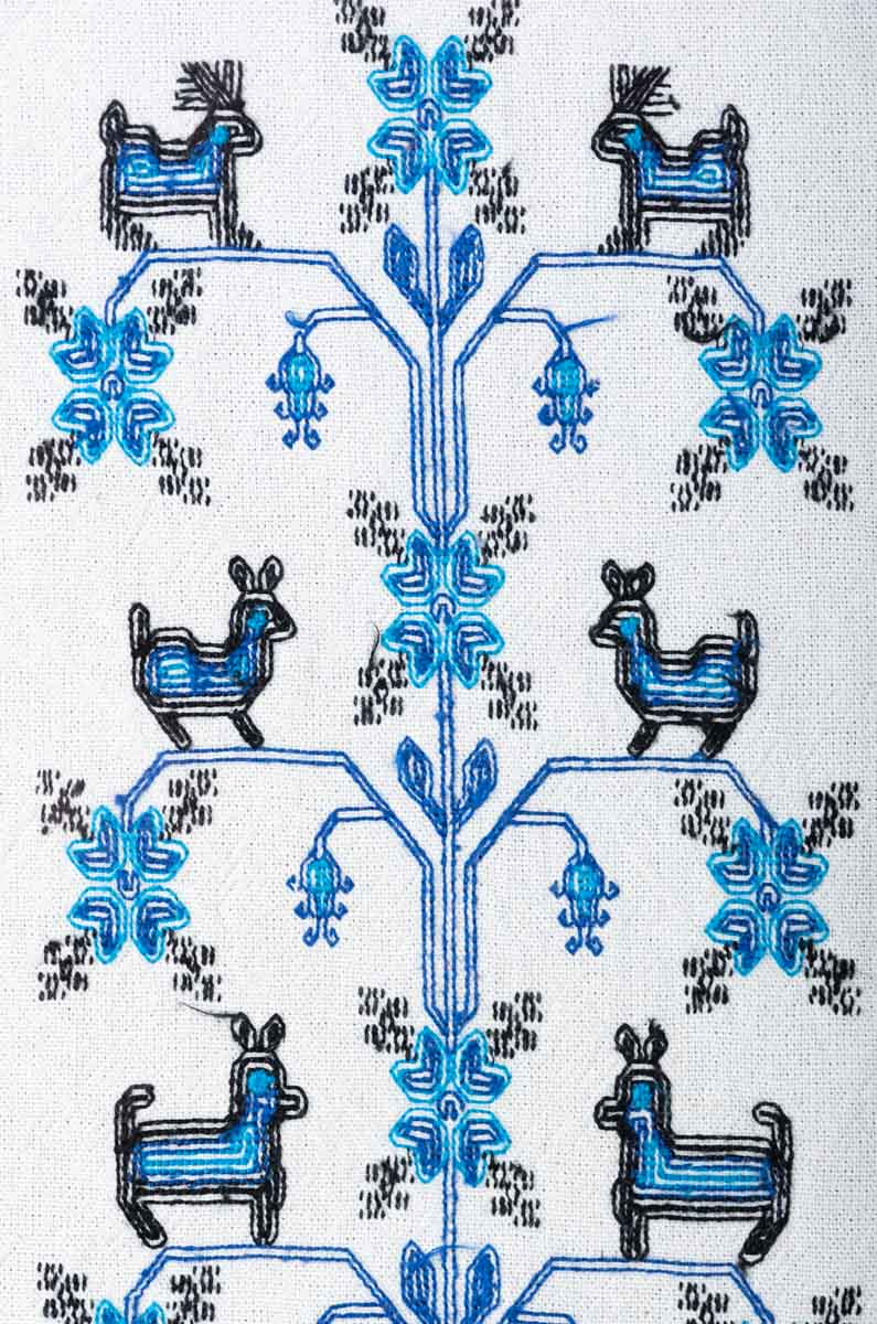 Mazahua Embroidery w Deer in Blue & White Mexican Indigenous Textile Reverse
