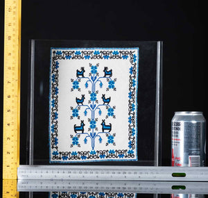 Mazahua Embroidery w Deer in Blue & White Mexican Indigenous Textile Rulers