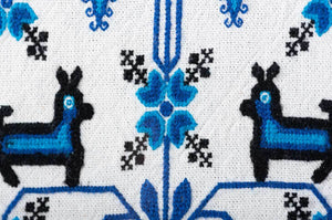 Mazahua Embroidery w Deer in Blue & White Mexican Indigenous Textile Detail