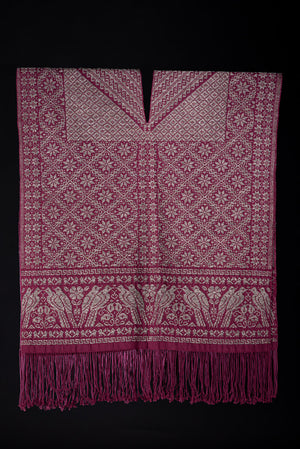 Burgundy & Gray Fine Art Mexican Poncho Overcoat Backstrap Loomed by Indigenous People