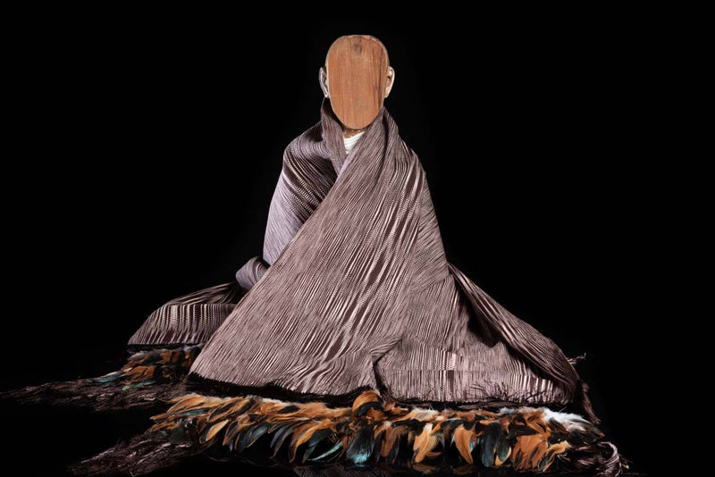 Brown & Beige Cotton Blanket Shawl w Feathers Mexican Indigenous Textile Art Mannequin