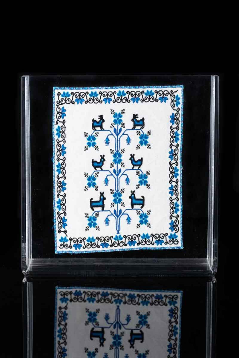 Mazahua Embroidery w Deer in Blue & White Mexican Indigenous Textile Framed
