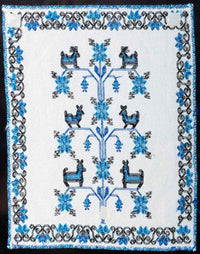 Mazahua Embroidery w Deer in Blue & White Mexican Indigenous Textile Full Back Side