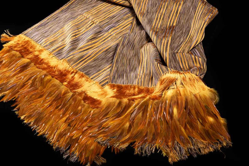 Striped Yellow and Brown Cotton Shawl with Feathers Indigenous textile art Detail