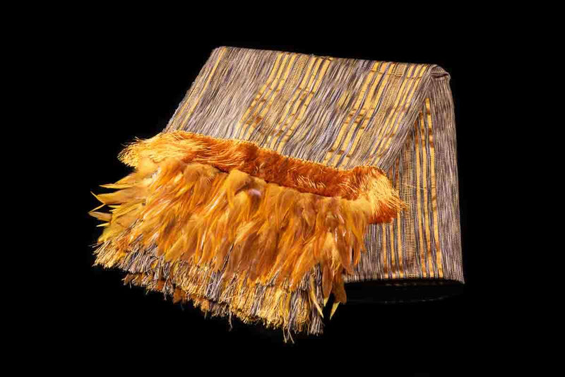 Striped Yellow and Brown Cotton Shawl with Feathers Indigenous textile art Folded