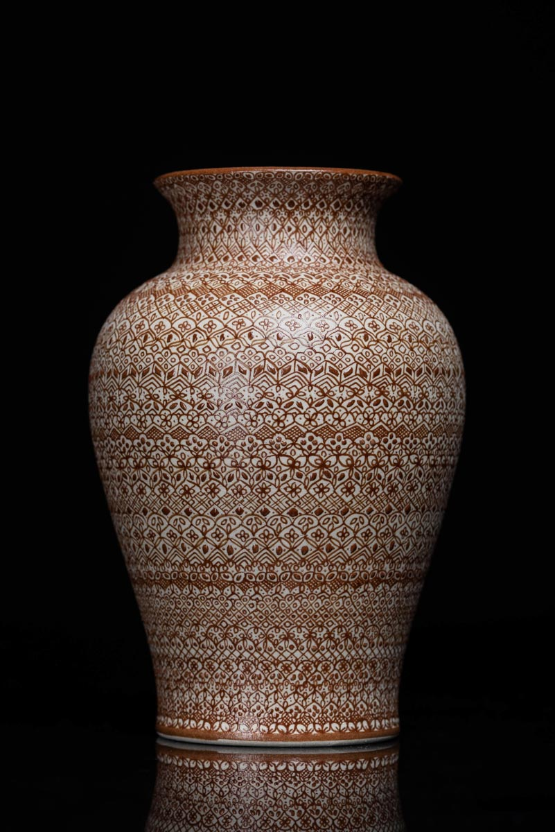 Fine  High Tempered Ceramic Vase Hand Painted in Brown