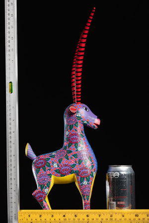 Gazelle Alebrije wood carving with rulers