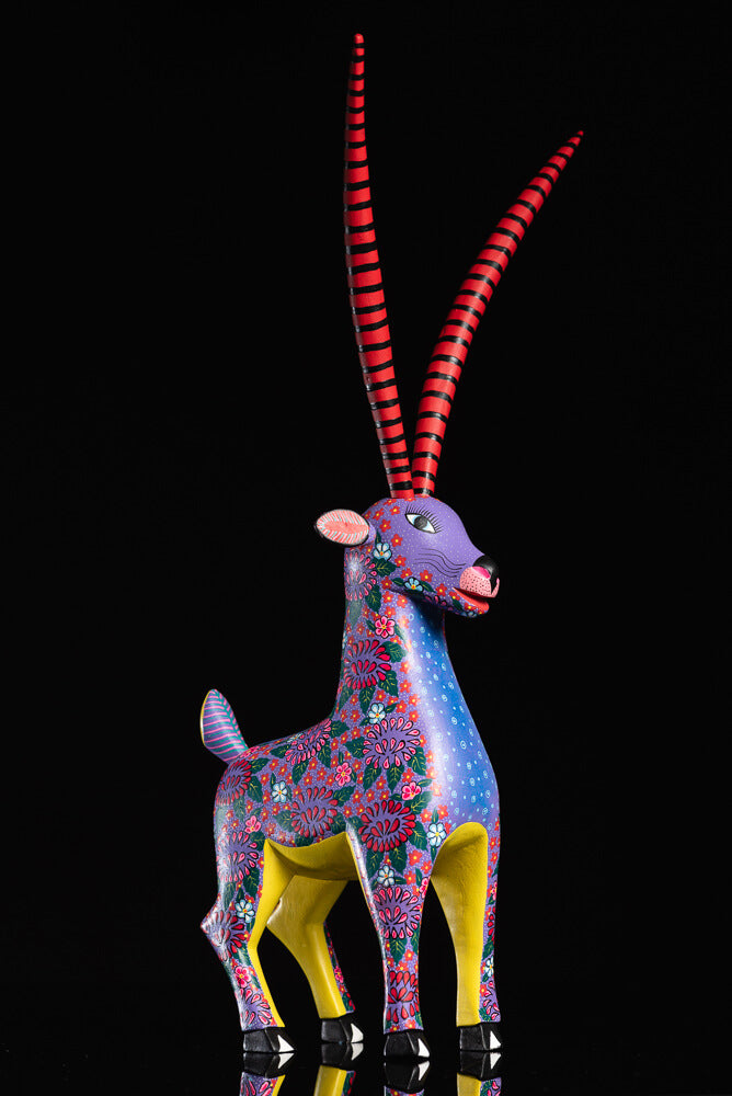 Gazelle Alebrije oaxacan wood carving facing right