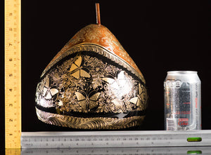 Gold Outlined Lacquered Gourd decorated with butterflies & Floral motifs rulers