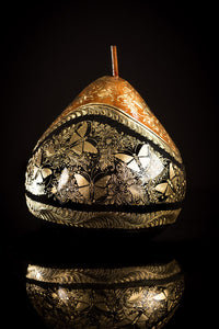 Gold Outlined lacquered gourd decorated with butterflies by Mario Agustin Gaspar