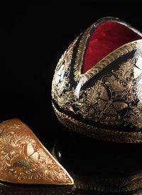 Gold Outlined Lacquered Gourd decorated with butterflies & Floral motifs