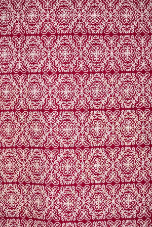 Hand Embroidered Red Wool Shawl Cochineal Dyed Mexican Textile Pattern