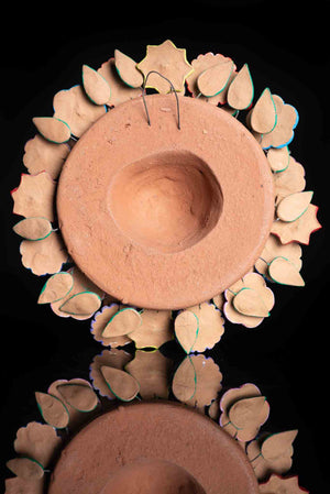 Mexican Clay Sun With Happy Face, Butterflies & Flowers Back