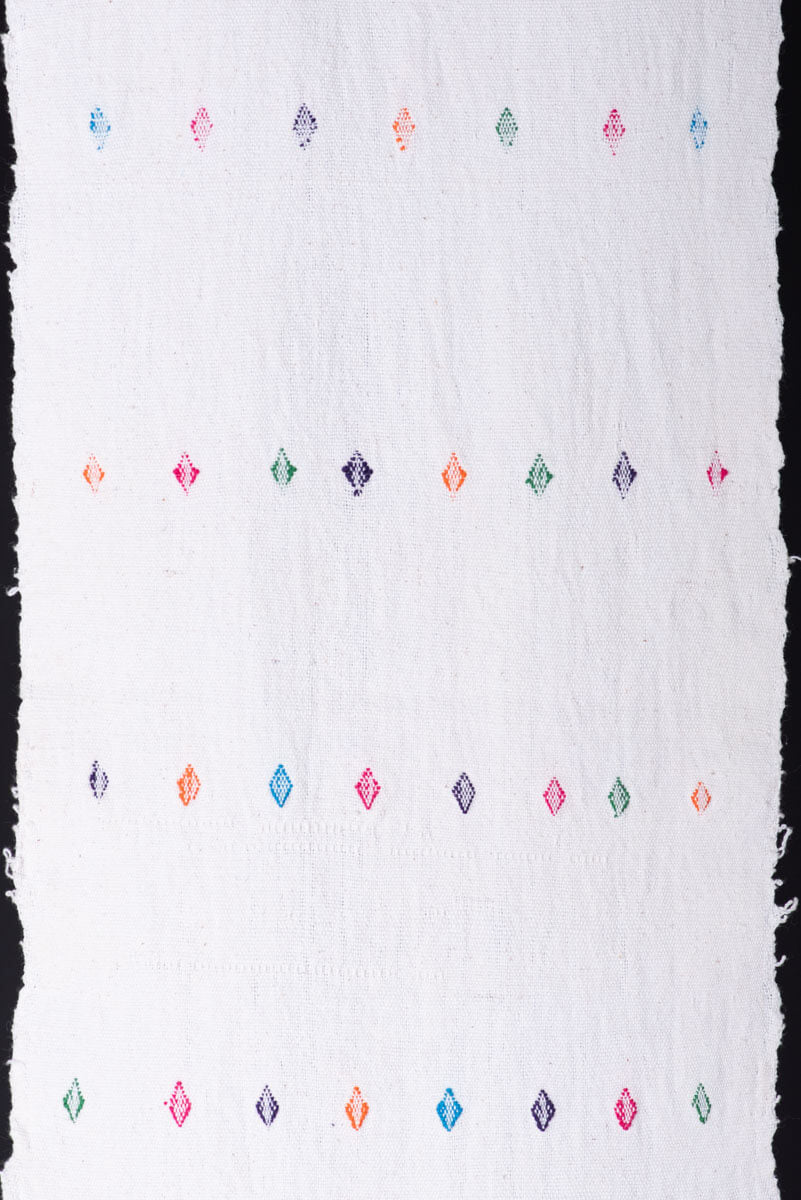 Beige Table Runner Shawl with Colorful diamonds Mexican Indigenous Textile  Pattern