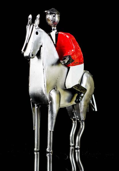 Jockey with red jacket & White trousers on horse by Mexican Artis Manuel Felguerez
