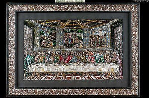 Last Supper Inlay Nacre Mexican religious Painting on Mother of Pearl