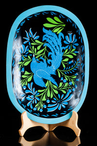 Maque Lacquered Wood Batea Blue Bird Michoacan