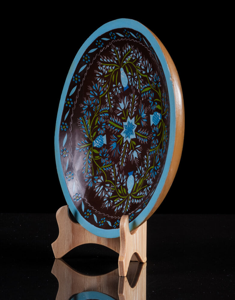 Maque Lacquered Wood Batea flowers blue black