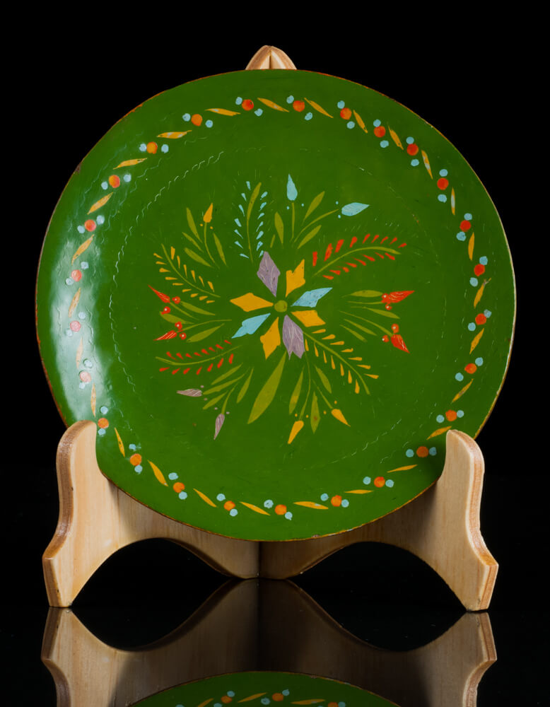 Maque Lacquered Wood Batea green Michoacan