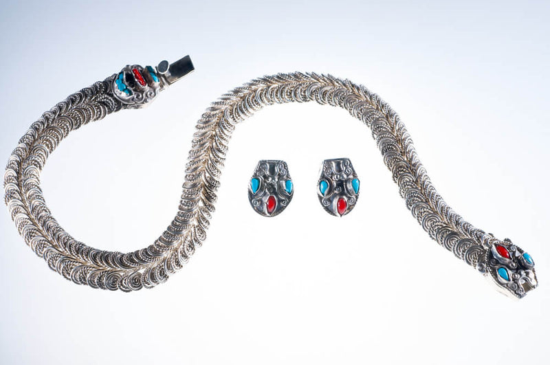 Snake Sterling Silver Necklace & earrings by Mexican Designer Matl