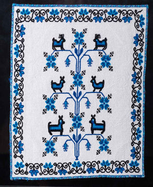 Mazahua Embroidery w Deer in Blue & White Mexican Indigenous Textile