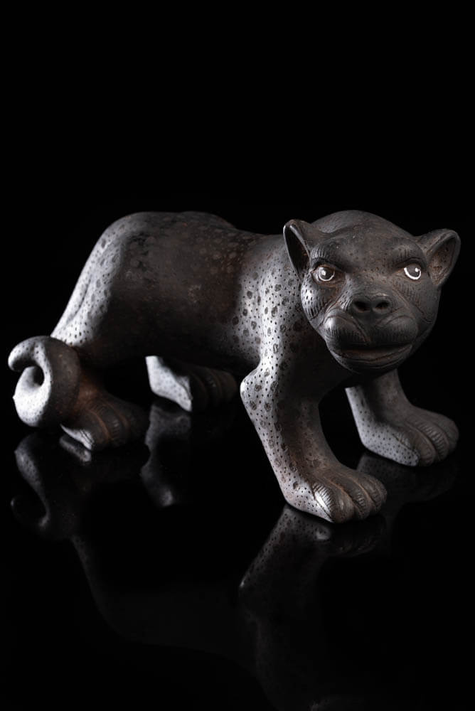Black Clay Mexican Jaguar facing Right Chiapas Pottery Art