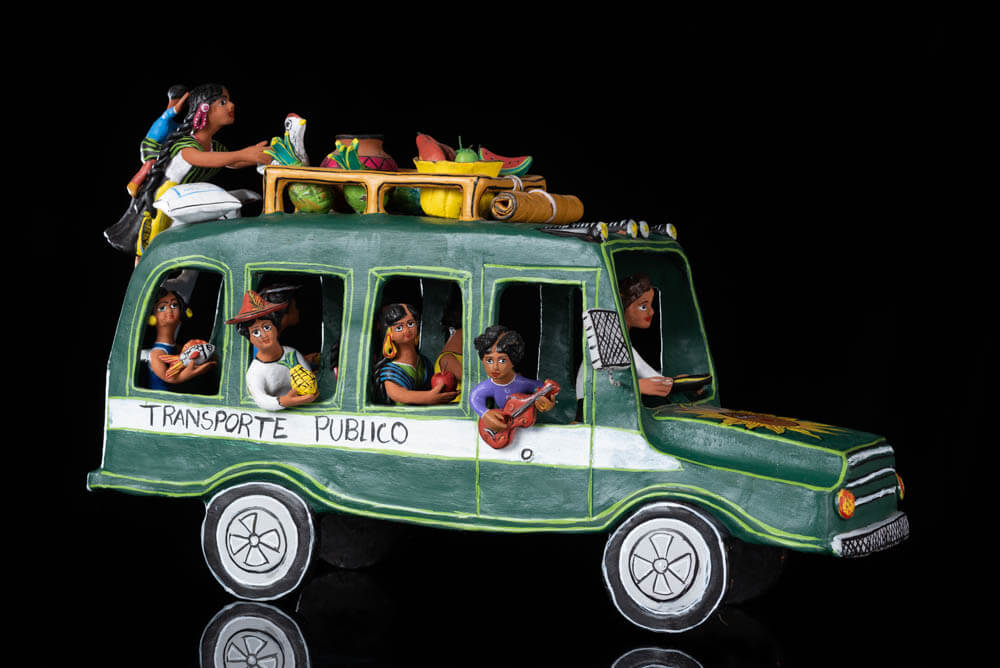 Mexican Clay Bus Sculpture from Ocumicho Michoacán, Folk Art Pottery