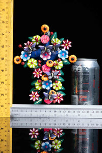 Mexican Clay Cross with Flowers & Butterflies Hand Painted Colorful Rulers