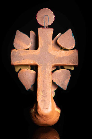 Mexican Clay Cross with doves & Holly Spirit, Water Fountain for Wall Hanging Back
