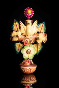 Mexican Clay Cross with doves & Holly Spirit, Water Fountain for Wall Hanging