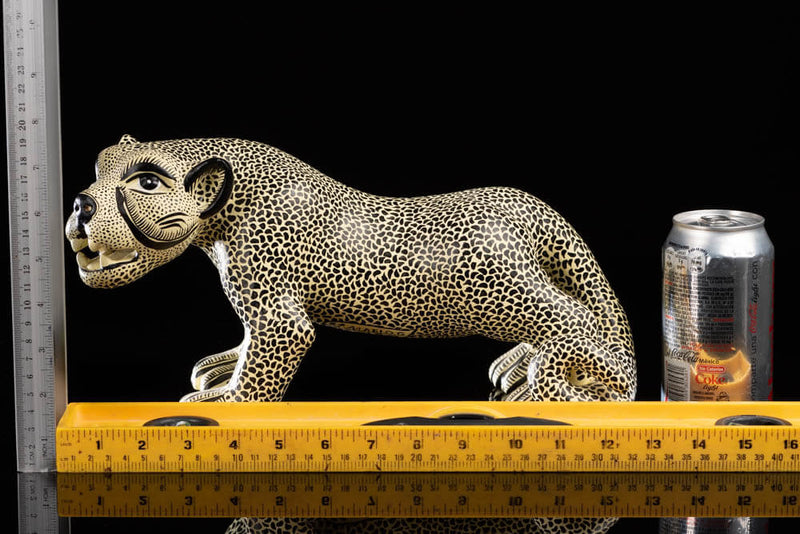 Mexican Clay Jaguar in Beige & Black Crafted by Chiapas Indigenous People