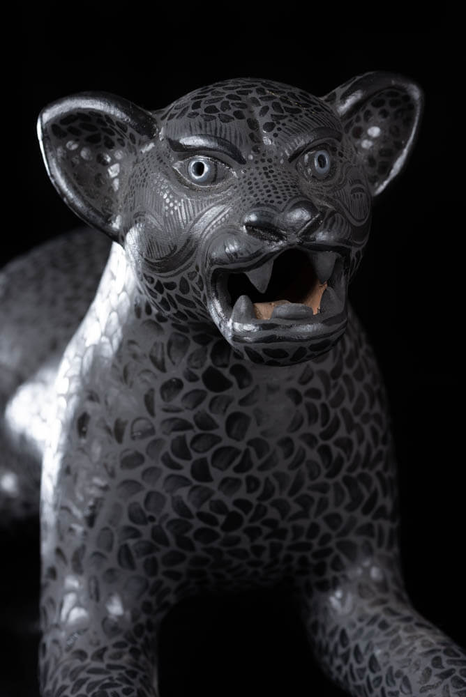 Mexican Clay Jaguar from Amatenango del Valle Chiapas. Black.