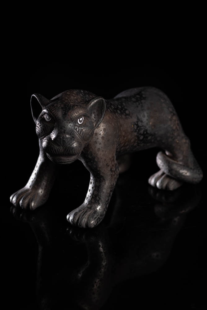 Mexican Clay Black Jaguar Amatenango Chiapas Indigenous Pottery Art
